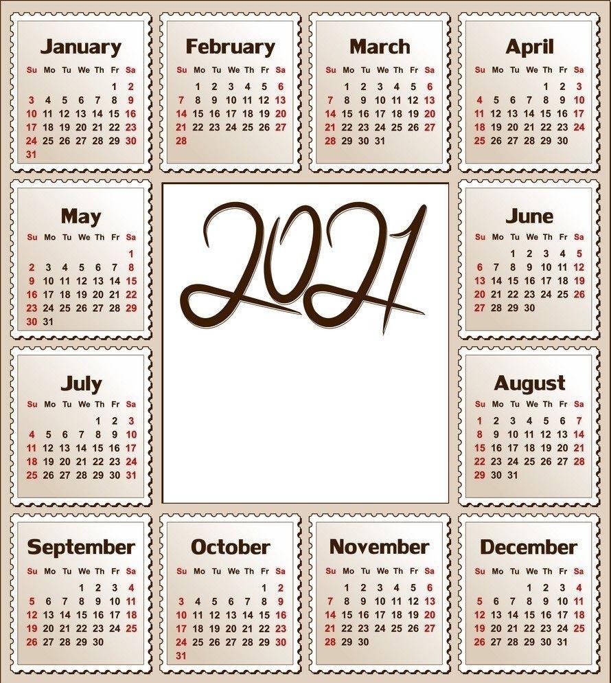 2021 Calendar Printable | 12 Months All In One | Calendar 2021 In 2020 | Calendar Printables