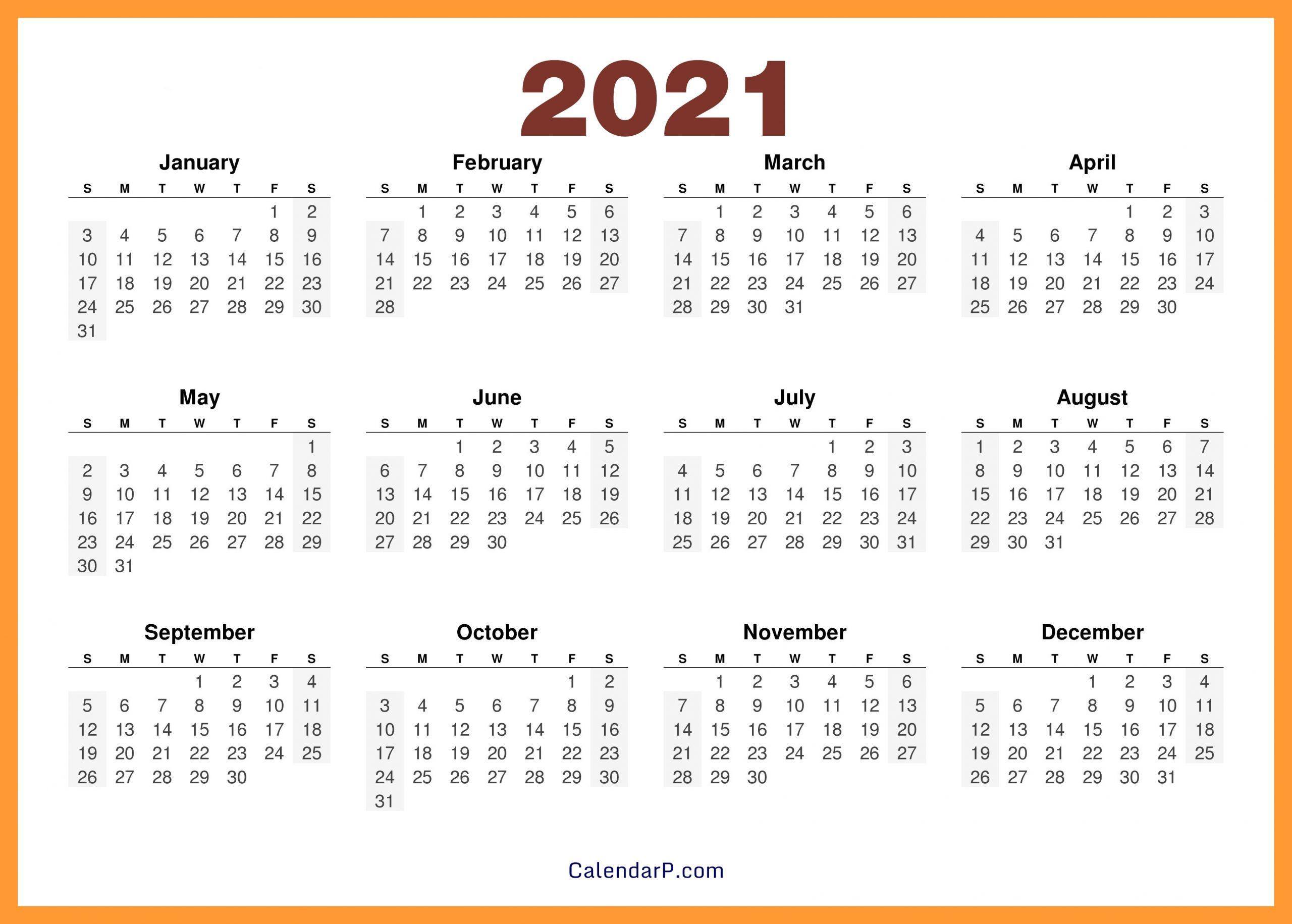 2021 Calendar Printable Free, Hd - Orange - Calendarp | Printable Free Calendars