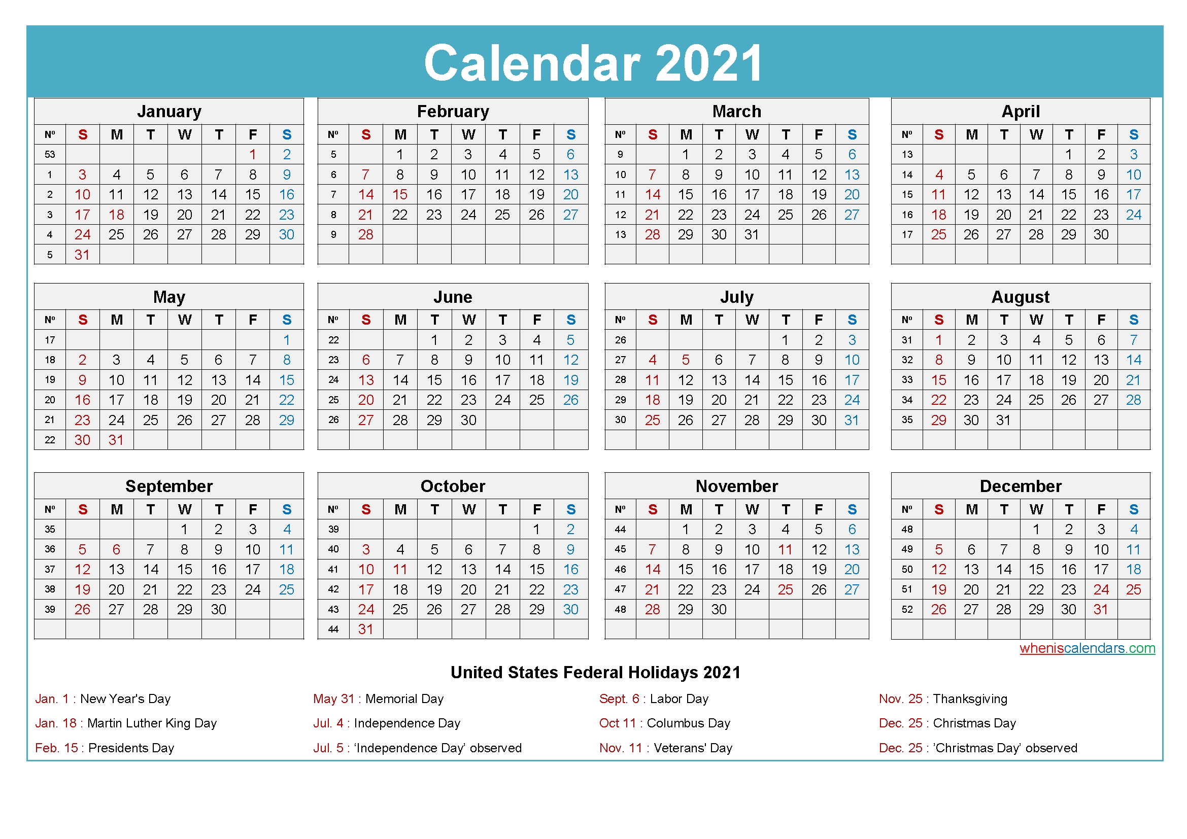 2021 Calendar With Holidays Printable Word, Pdf - Free Printable 2020 Monthly Calendar With Holidays