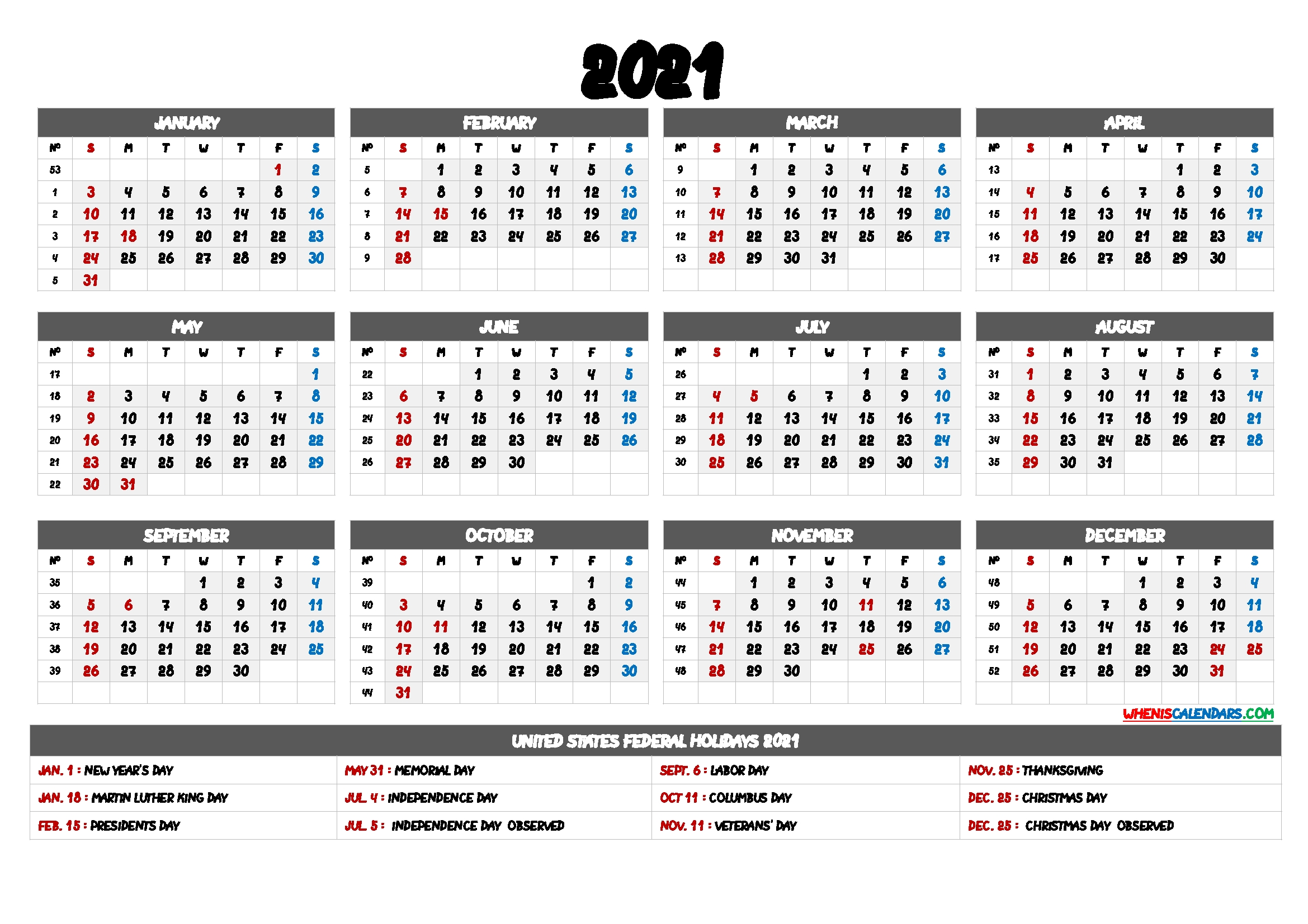 2021 Calendar With Week Numbers - 9 Templates - Free Printable 2020 Monthly Calendar With Holidays