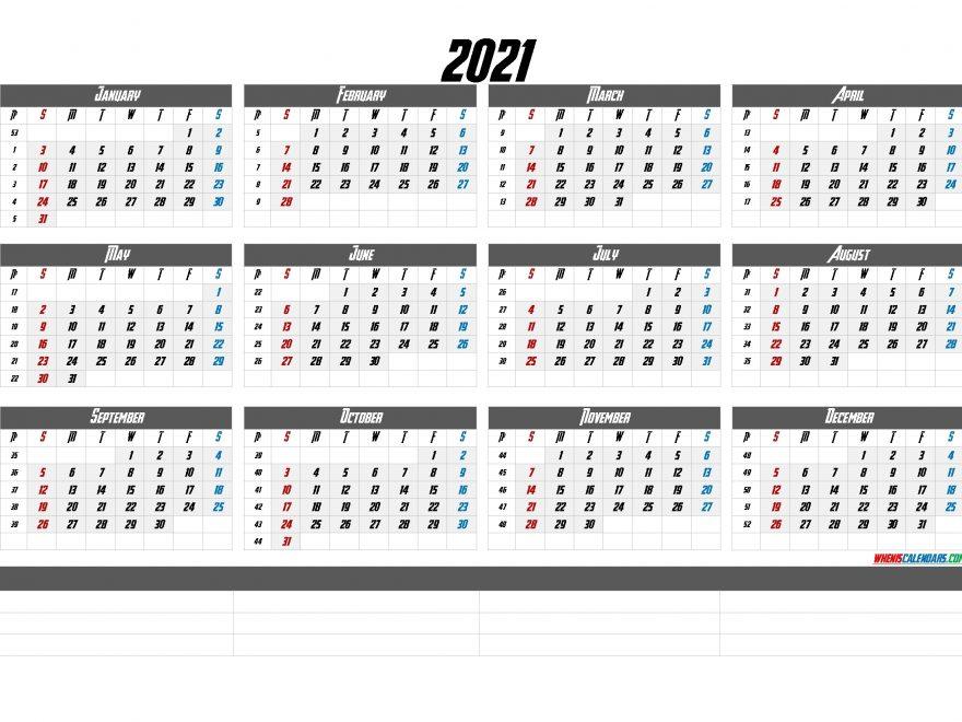 2021 Calendar With Week Numbers Printable Calendraex Com