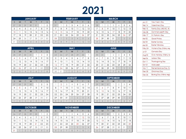 2021 Canada Annual Calendar With Holidays - Free Printable Templates