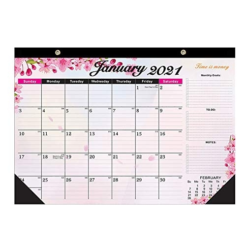 2021 Desk Calendar With Notes, Julian Date Jan. 2021 - Dec. 2021, Thick Paper With Colorful (B