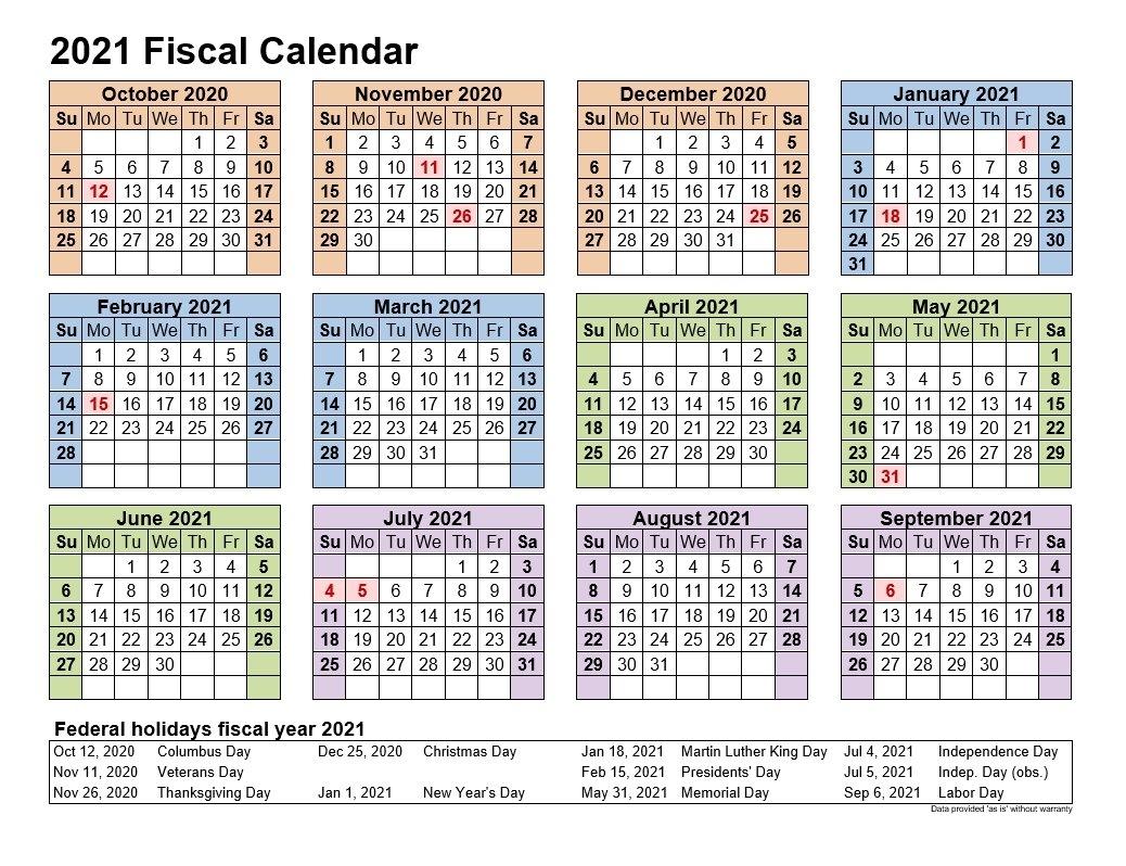 2021 Fiscal Calendars Landscape Format | 2021Printablecalendar