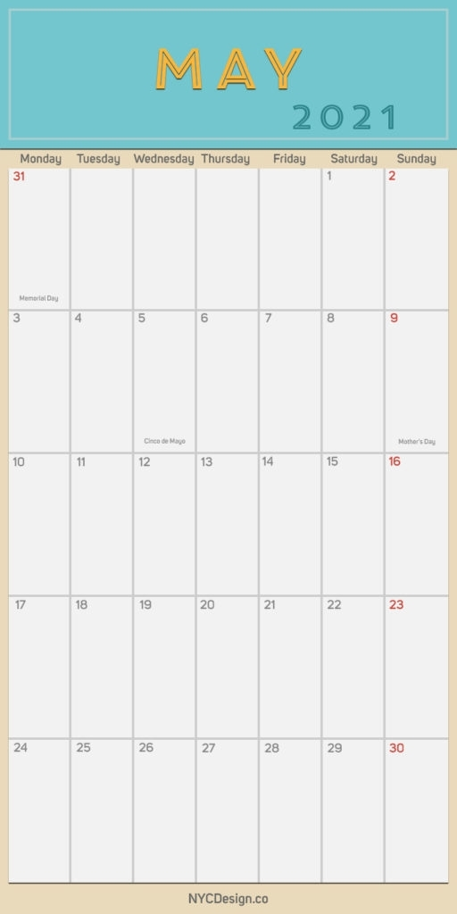 2021 May - Monthly Calendar With Holidays, Printable Free, Pdf - Monday Start - Nycdesign.co