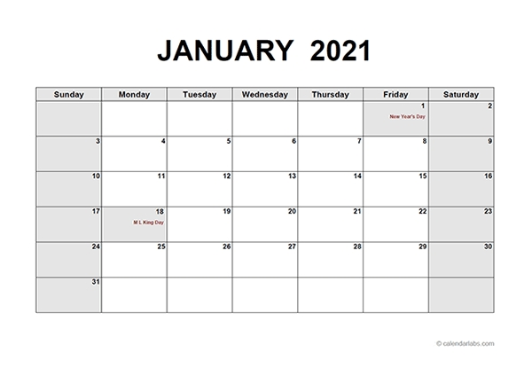 2021 Monthly Calendar Pdf - Free Printable Templates