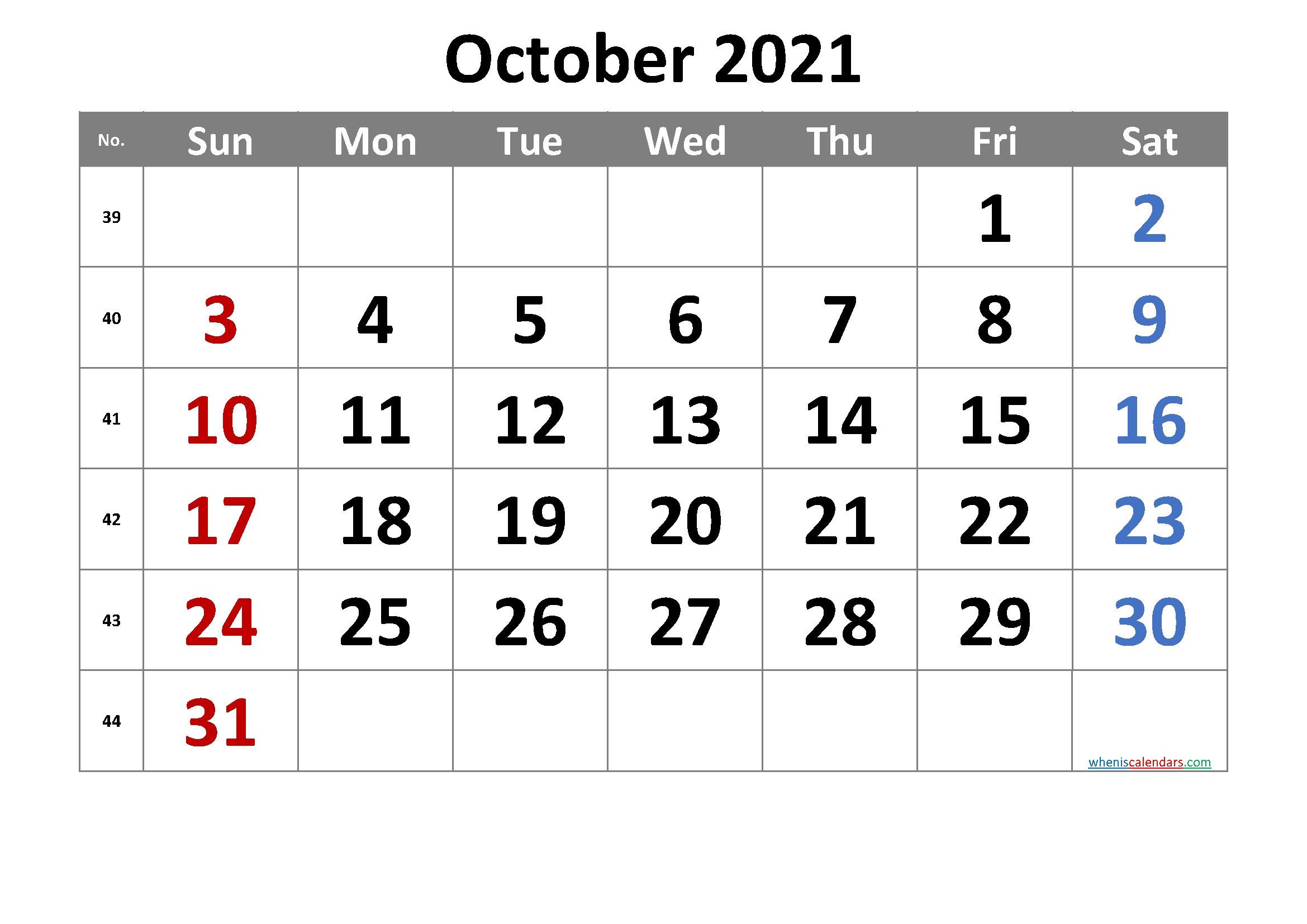 2021 October Free Printable Calendar - 6 Templates - Free Printable 2020 Monthly Calendar With