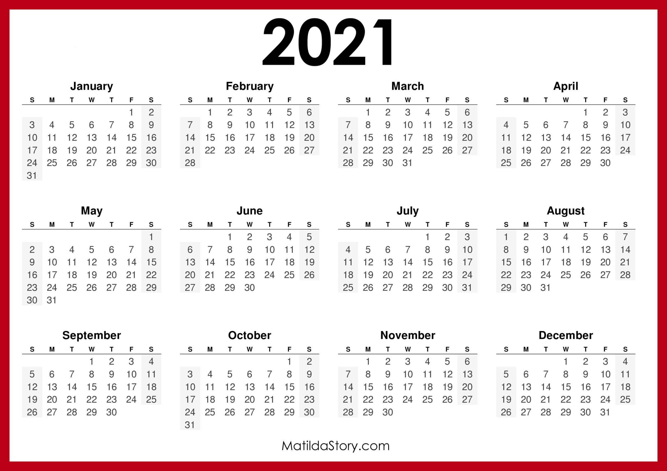 2021 Printable Free Calendar, Horizontal, Red - Sunday Start, Hd - Matildastory