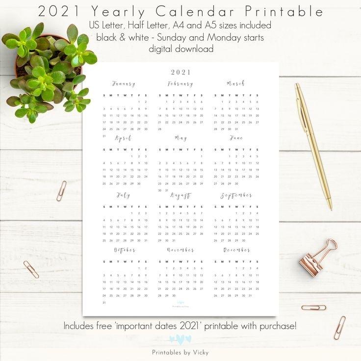2021 Yearly Calendar Printable Portrait Calendar 2021 Us | Etsy | Calendar Printables, Yearly