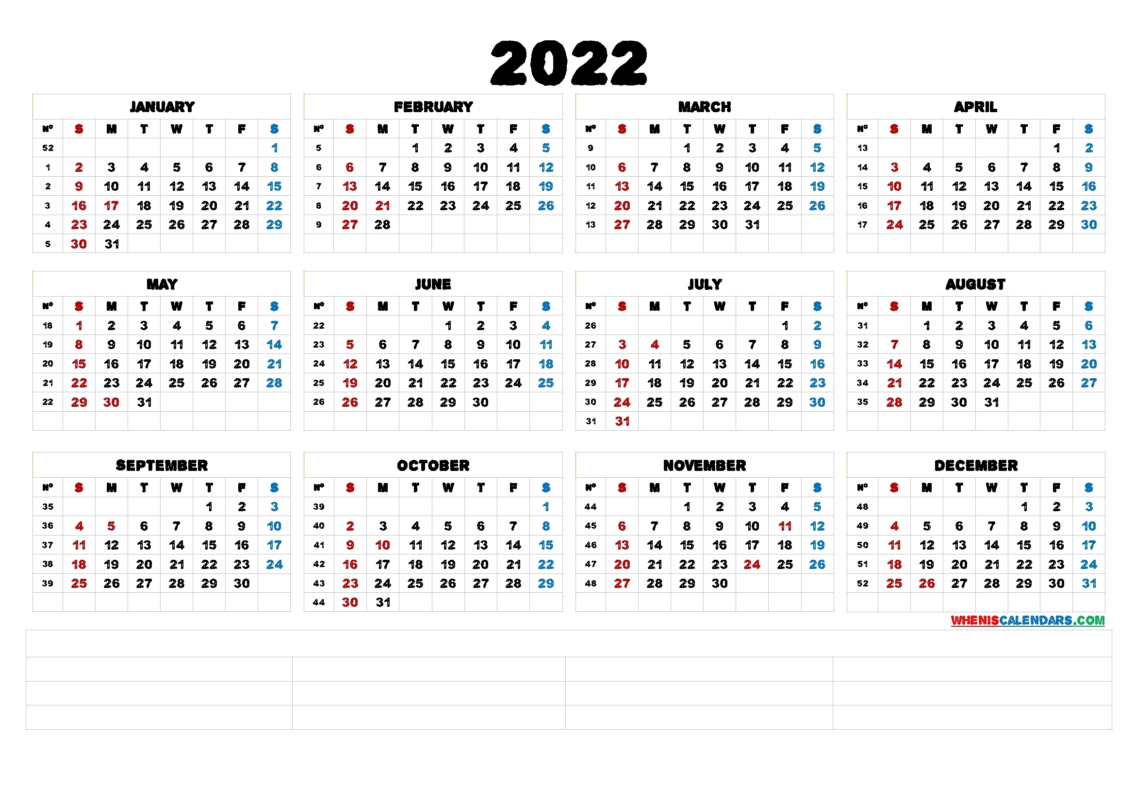 2022 Printable Yearly Calendar With Week Numbers (6 Templates) - Free Printable 2020 Monthly
