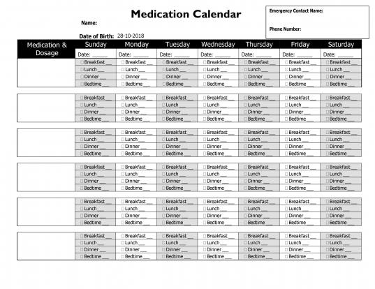 28 Day Drug Calendar   Printable Calendar Template 2020