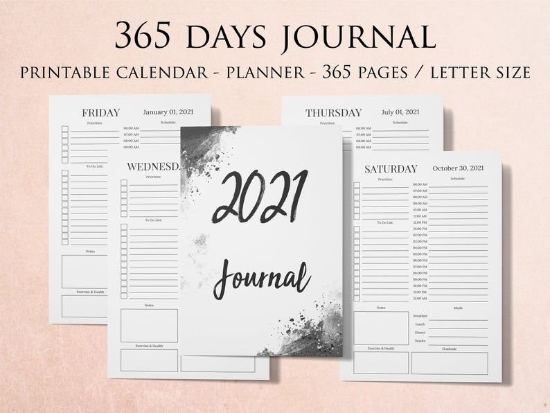 365 Pages Journal 2021 Calendar Planner 2021 365 Days | Etsy