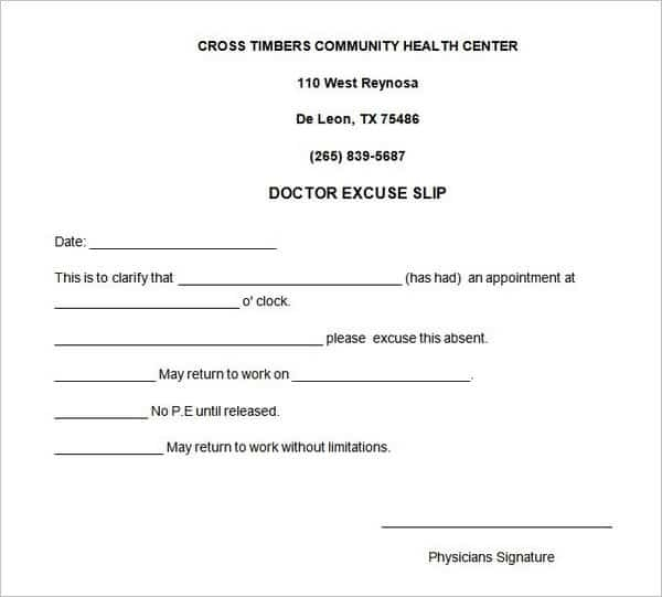 4 Free Doctors Note For Work Templates - Word - Excel - Pdf Formats