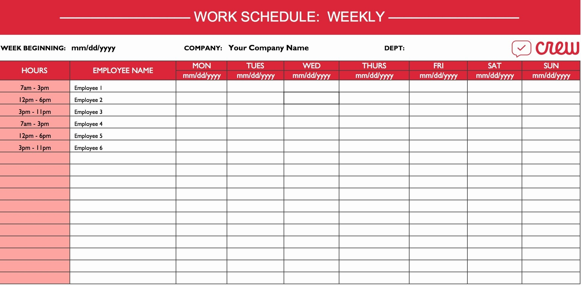 40 Weekly Work Schedule Template Pdf In 2020 | Daily Schedule Template, Monthly Schedule