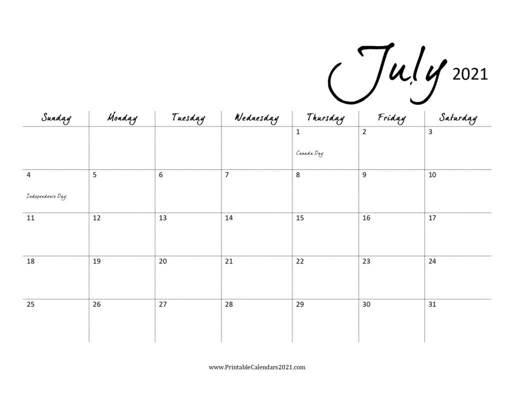 45+ July 2021 Calendar Printable, July 2021 Calendar Pdf, Blank, Free