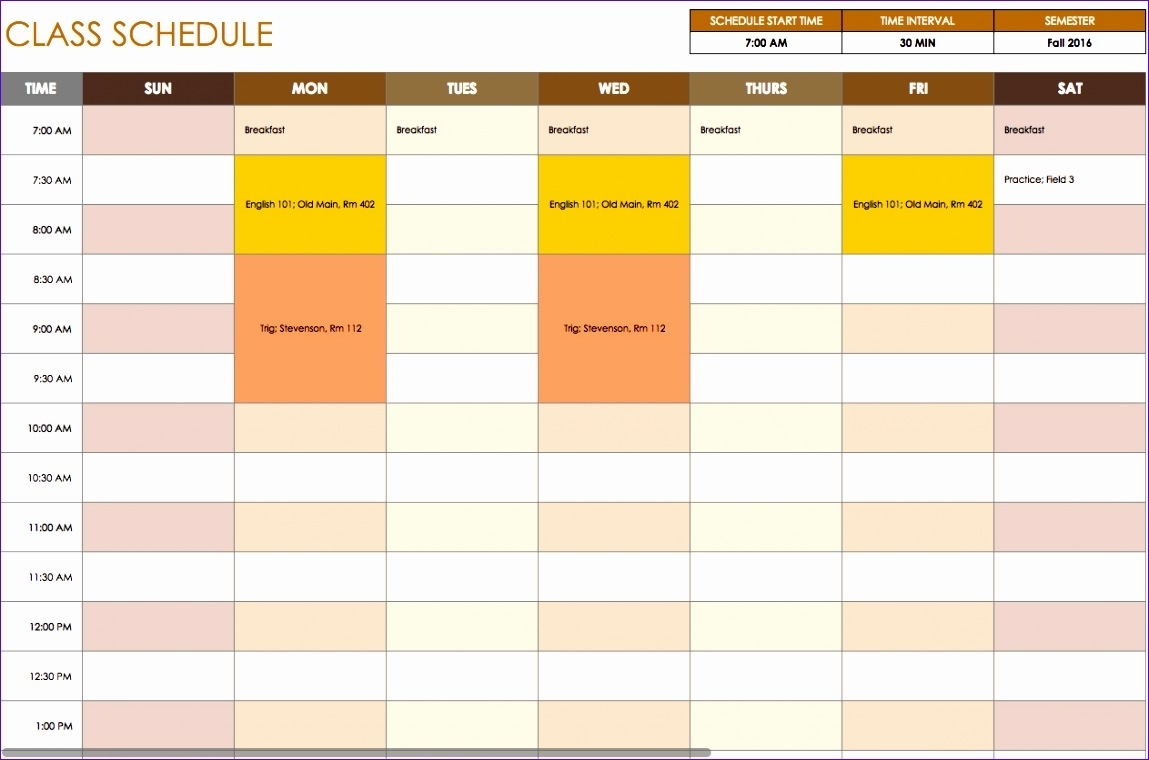 8 Weekly Time Schedule Template Excel - Excel Templates - Excel Templates