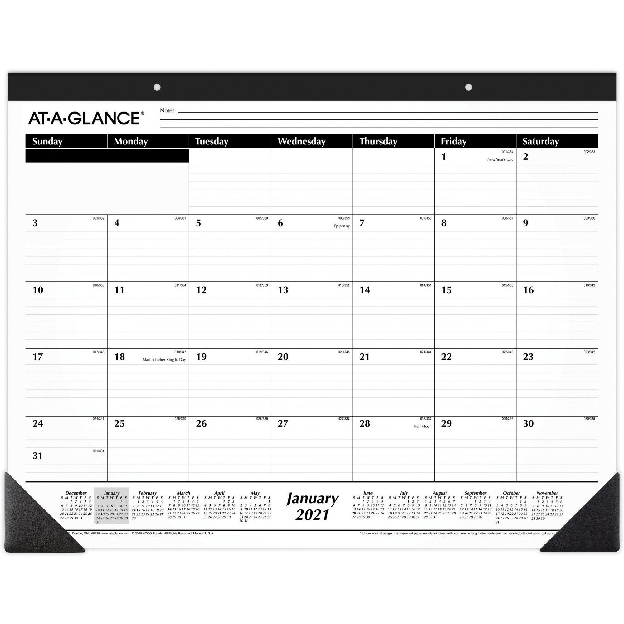 Aagsk240021 - At-A-Glance Classic Monthly Desk Pad - Julian Dates - Monthly - 1 Year - January