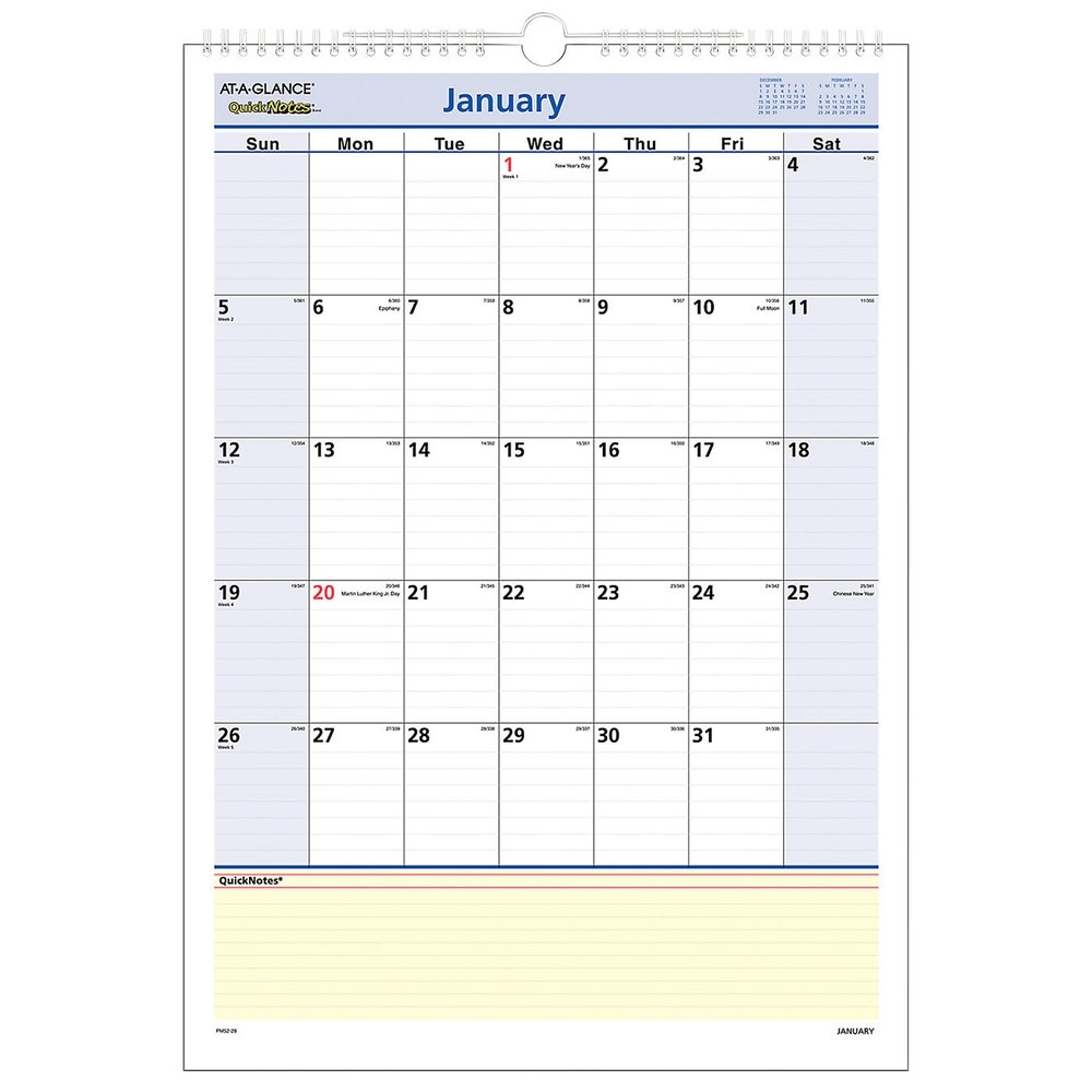 """At-A-Glance Pm5228 Quicknotes 12"""" X 17"""" Monthly January 2021 - December 2021 Wall Calendar"""