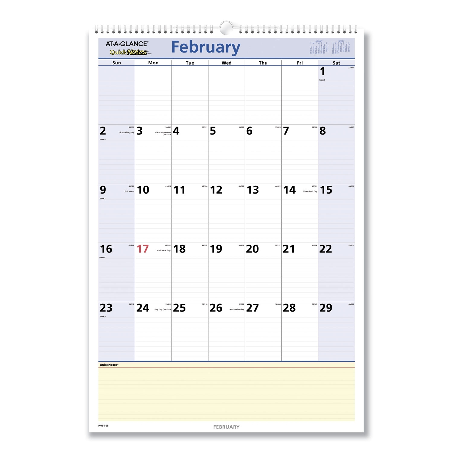 At-A-Glance Quicknotes Wall Calendar, 15.5 X 22.75, 2021 Pm54-28 | Office And Crafts