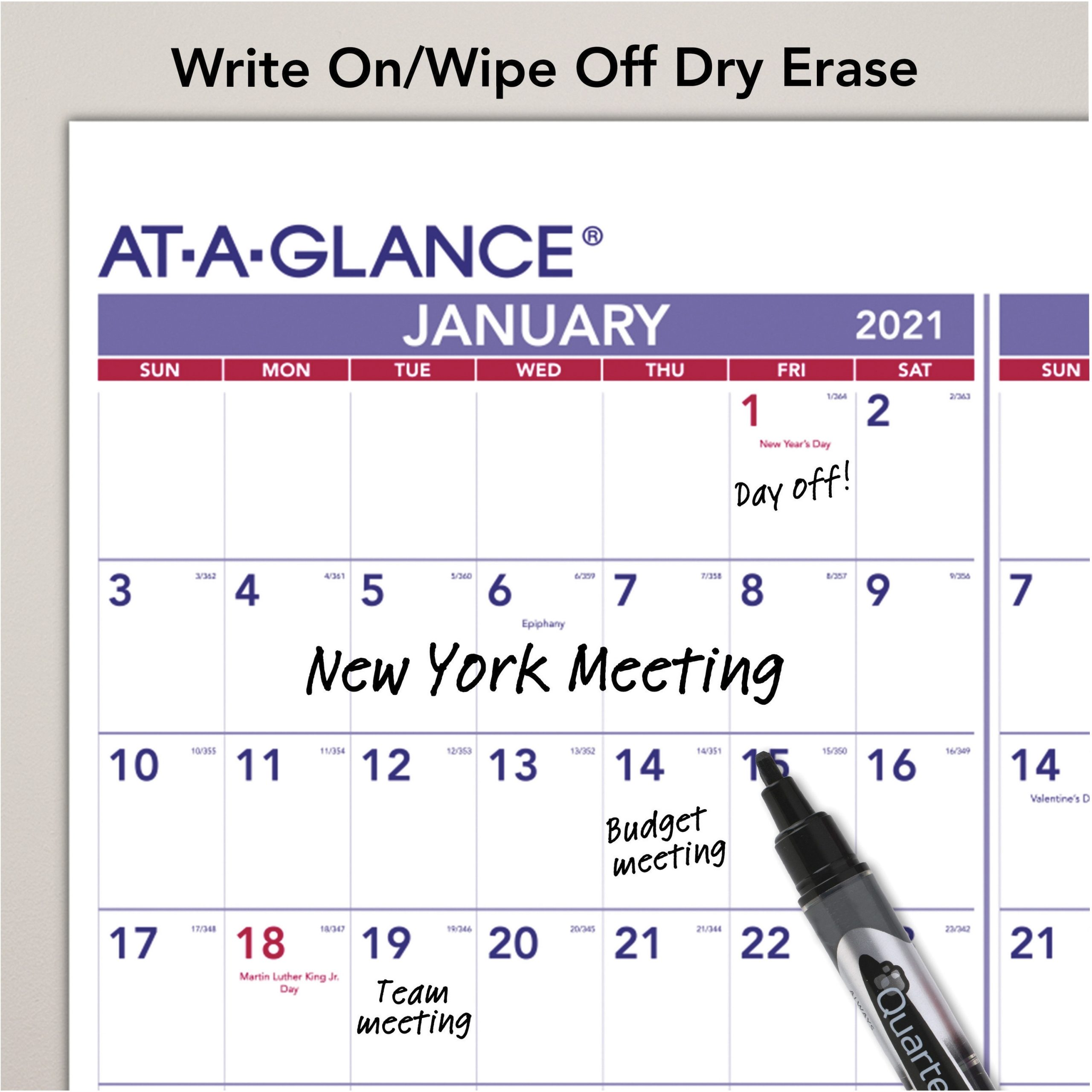At-A-Glance Yearly Wall Calendar - Julian Dates - Yearly - 1 Year - January 2021 Till December