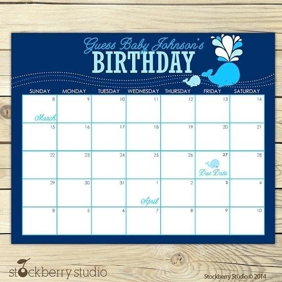 Baby Due Date Template :-Free Calendar Template