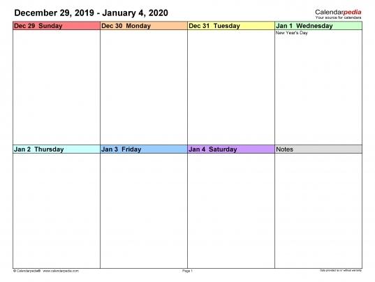 Bi-Weekly Calendar Free Printable 2020 | Printable Calendar Template 2020