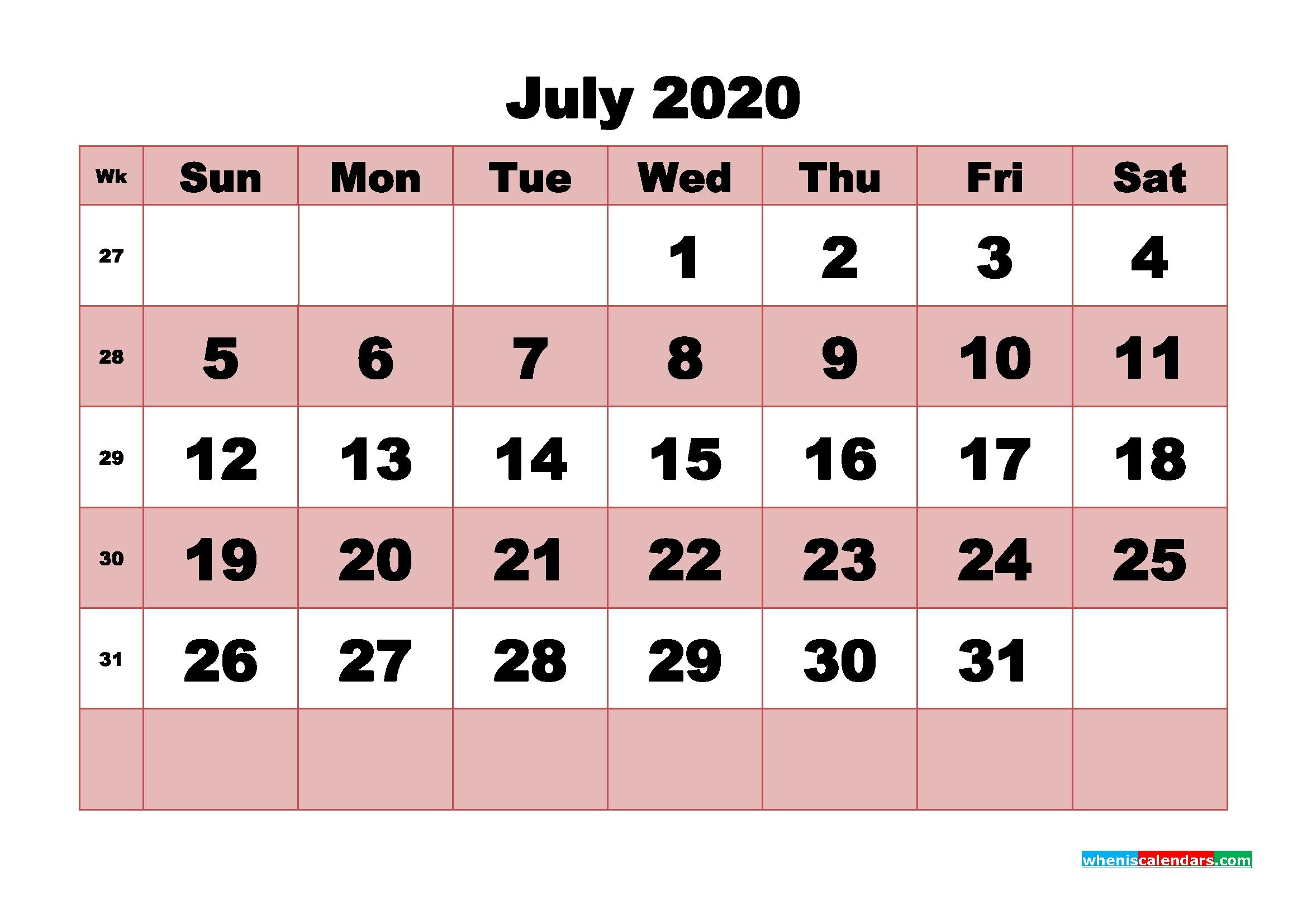Blank Calendar 2020 July Printable Word, Pdf, Png - Free Printable 2020 Monthly Calendar With