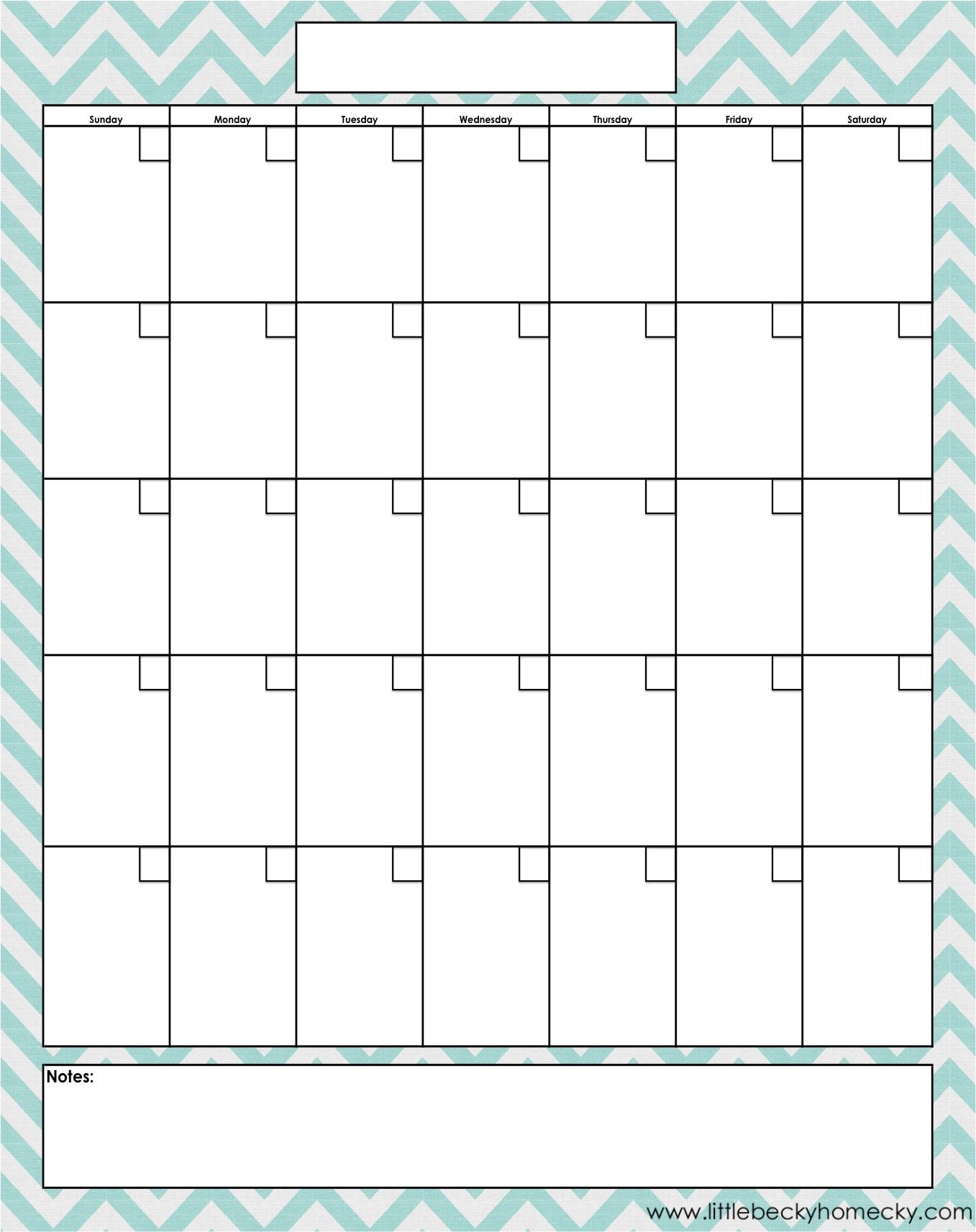 Blank Monthly Calendar Printable Free | 2020Calendartemplates