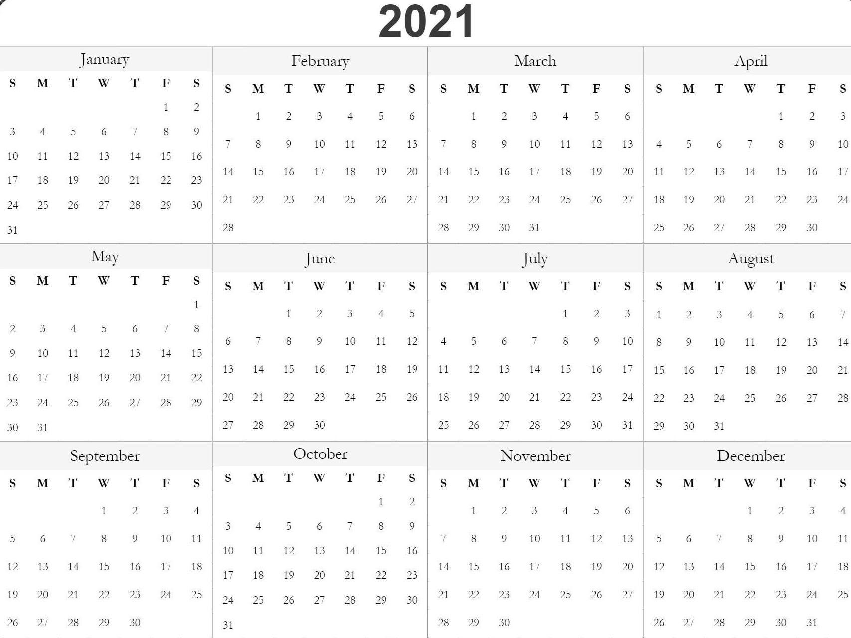 Blank Printable 2021 Calendar Template | Free Printable Calendar, Free Printable Calendar