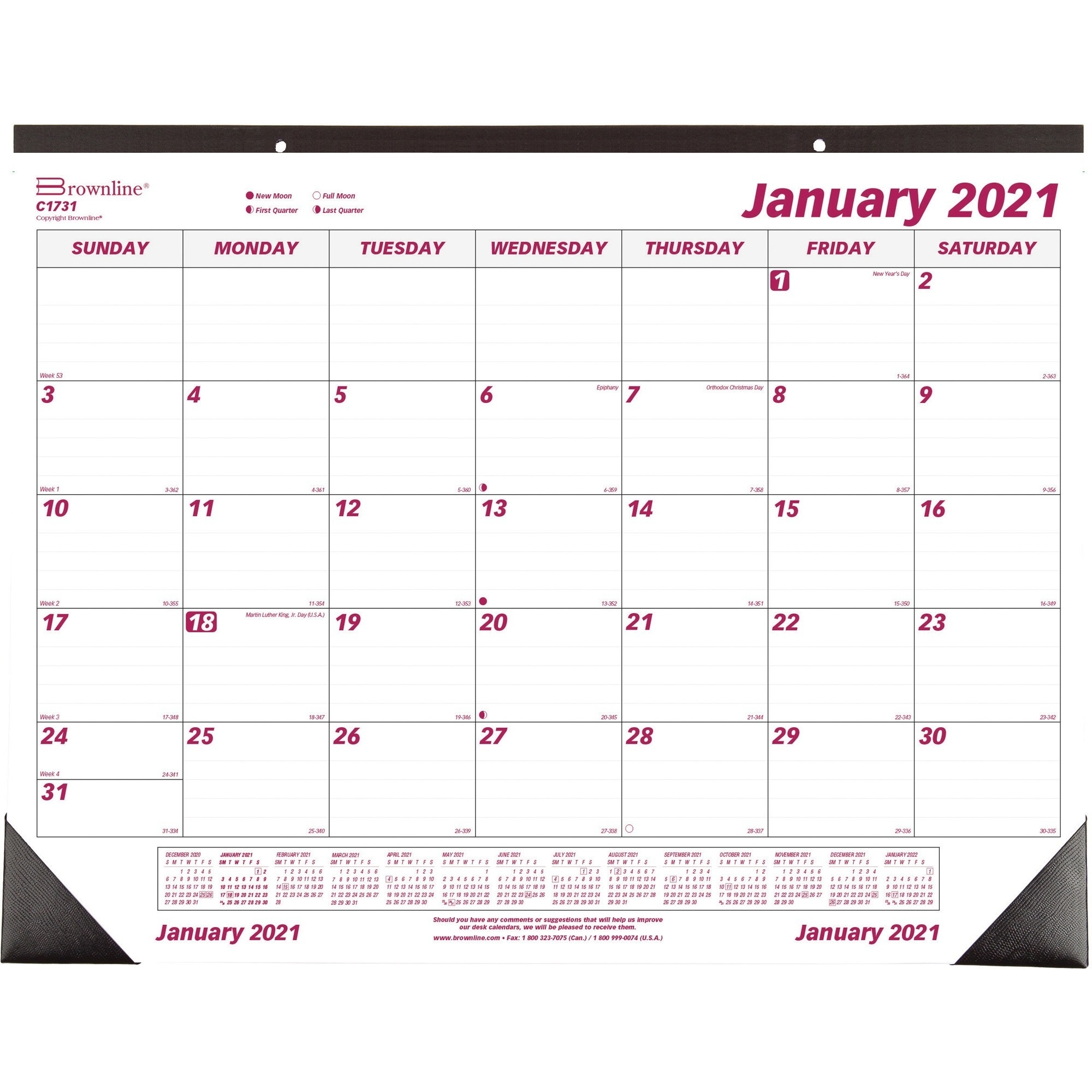 Brownline Mini Monthly Desk Pad - Julian Dates - Monthly - 1 Year - January 2021 Till December