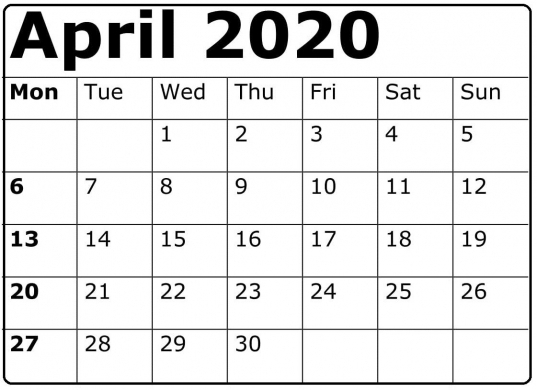 Business Calendar 2020 Mon To Sund | Printable Calendar Template 2020