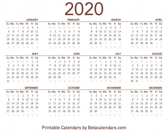 Business Calendar 2020 Mon To Sund | Printable Calendar Template 2020