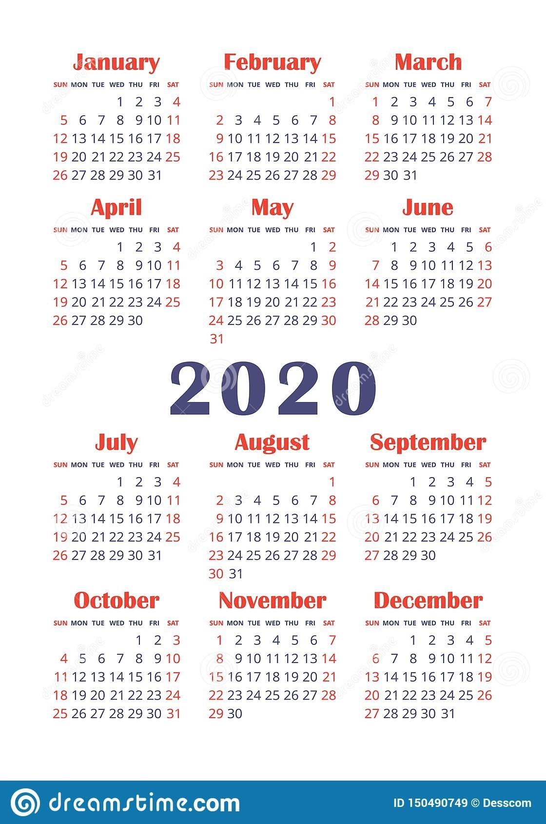Calendar 2020 Year. Vector Design Template. English Vertical Pocket Calender. Week Starts On