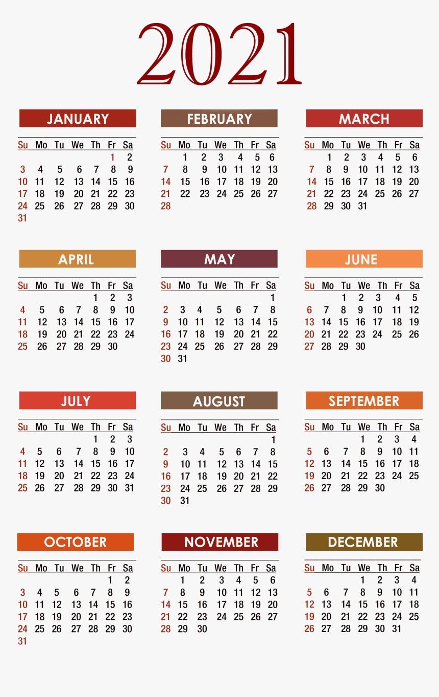 Calendar 2021 Png Free Download - Free Printable 2020 Calendar, Transparent Png , Transparent