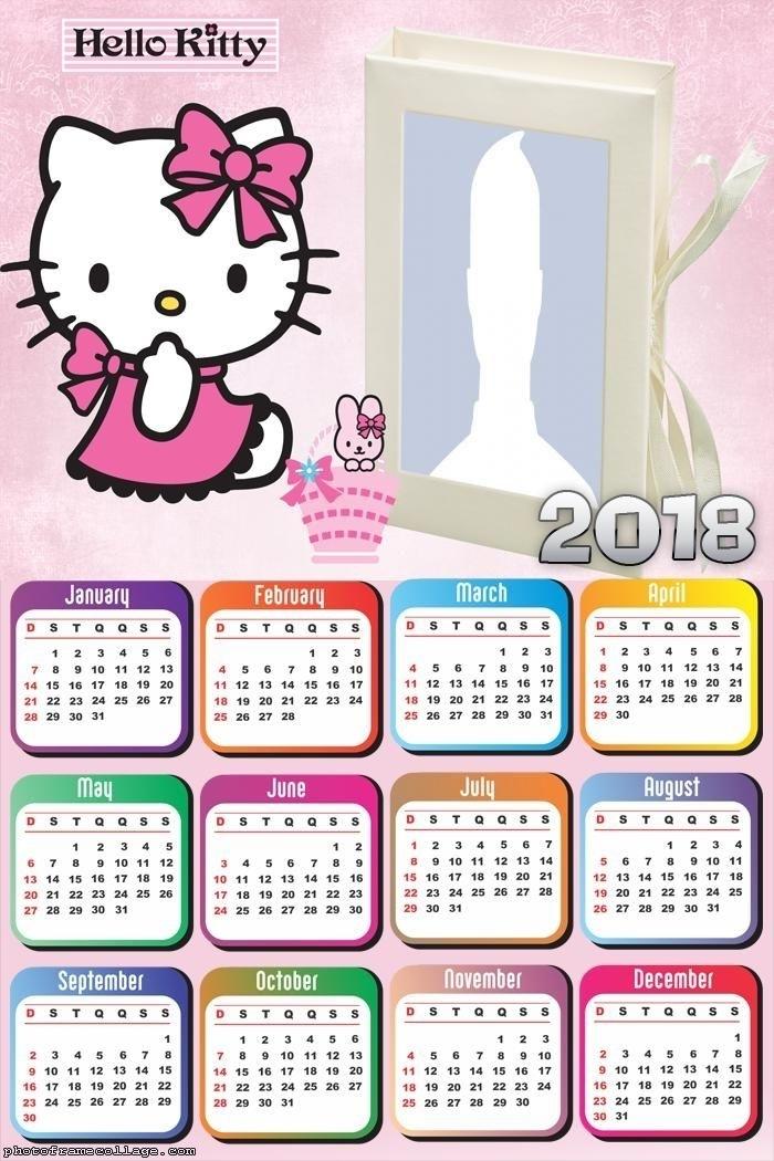 Calendar Hello Kitty Cartoon 2018 | Cosas De Hello Kitty, Dibujos De Hello Kitty, Hello Kitty Bebé