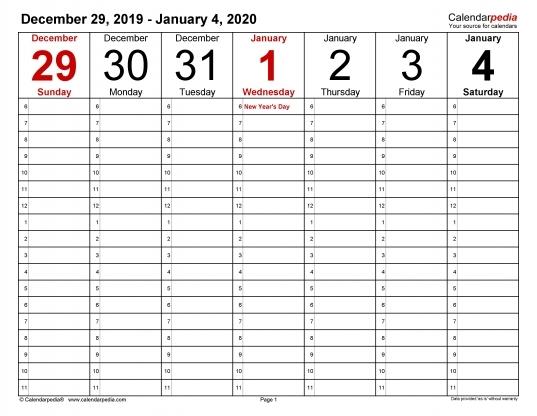 Calendar With Time | Printable Calendar Template 2020