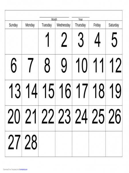 Calender 28 Day Printable | Printable Calendar Template 2020