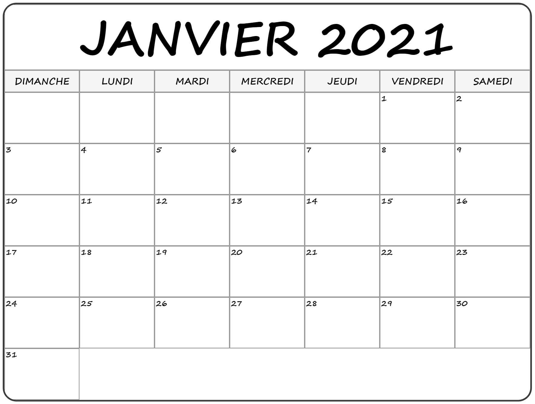 Calendrier Janvier 2021 A Imprimer | Avnitasoni