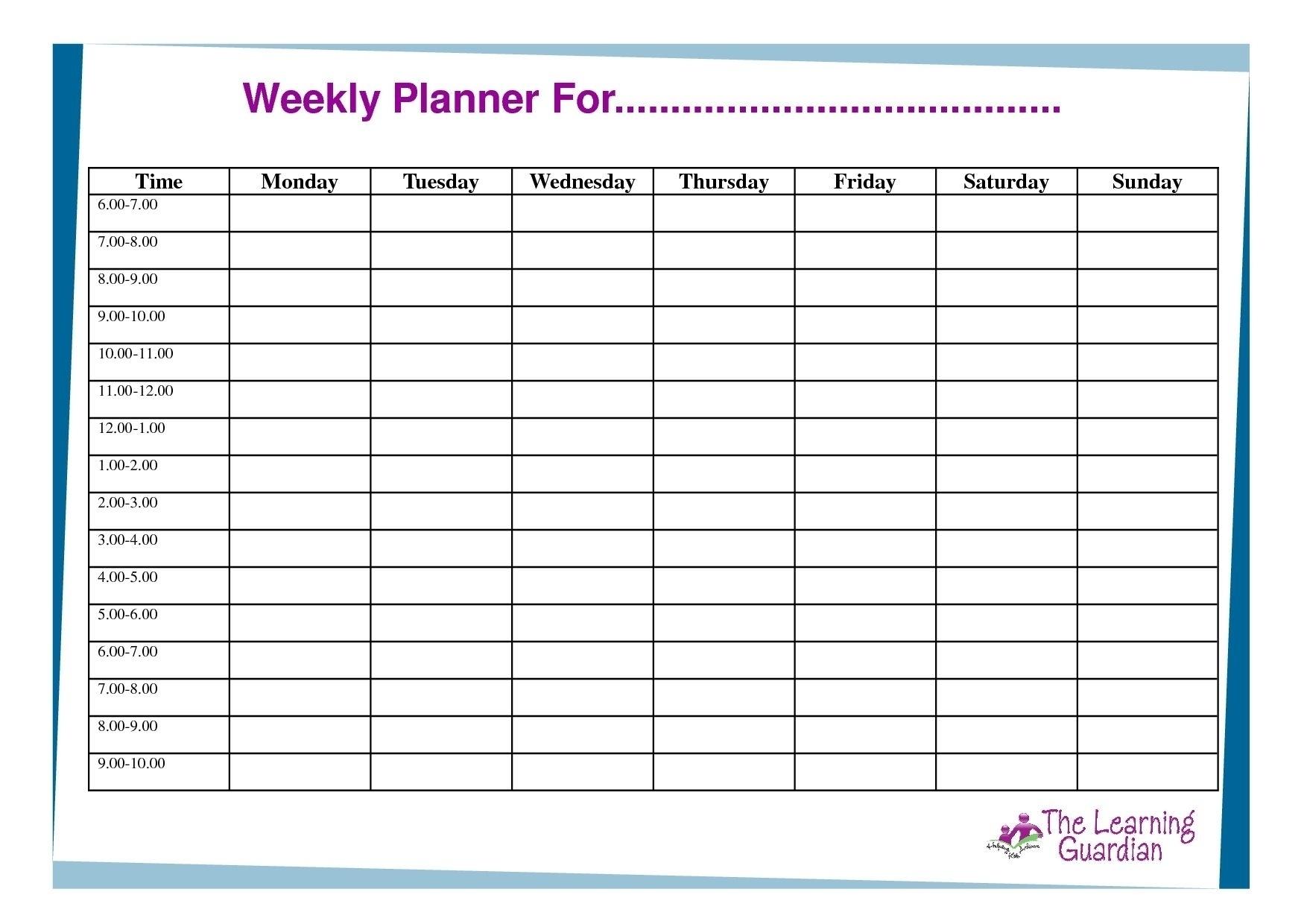 Catch Blank 7-Day Week Calendar Template - Best Calendar Example