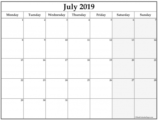 Ccalendar Tp Print Monday - Sunday | Printable Calendar Template 2020