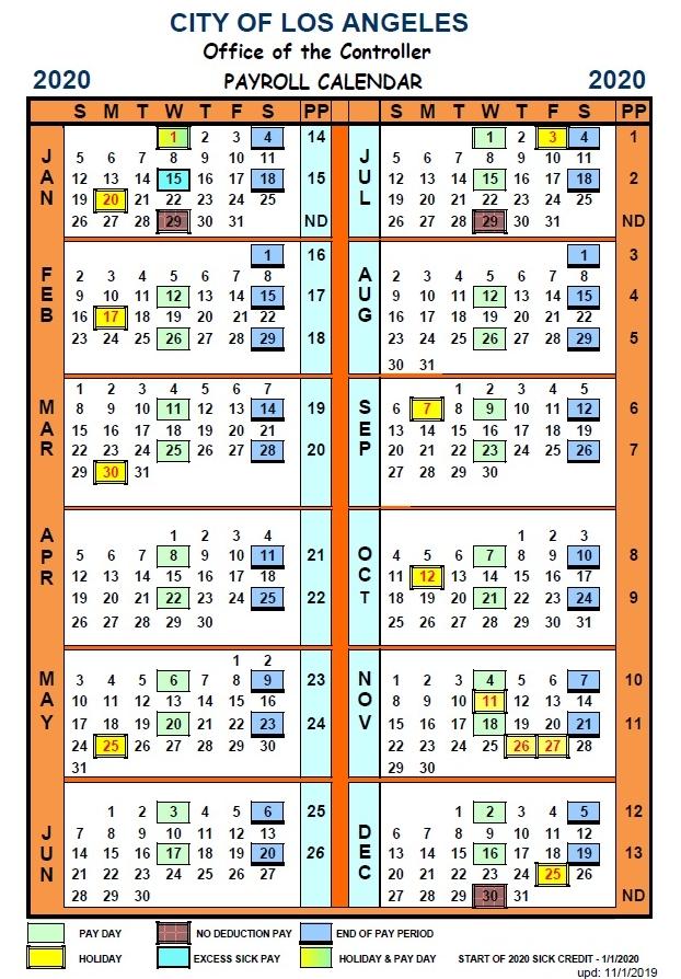 City Of Los Angeles Payroll Calendar 2021 | Payroll Calendar