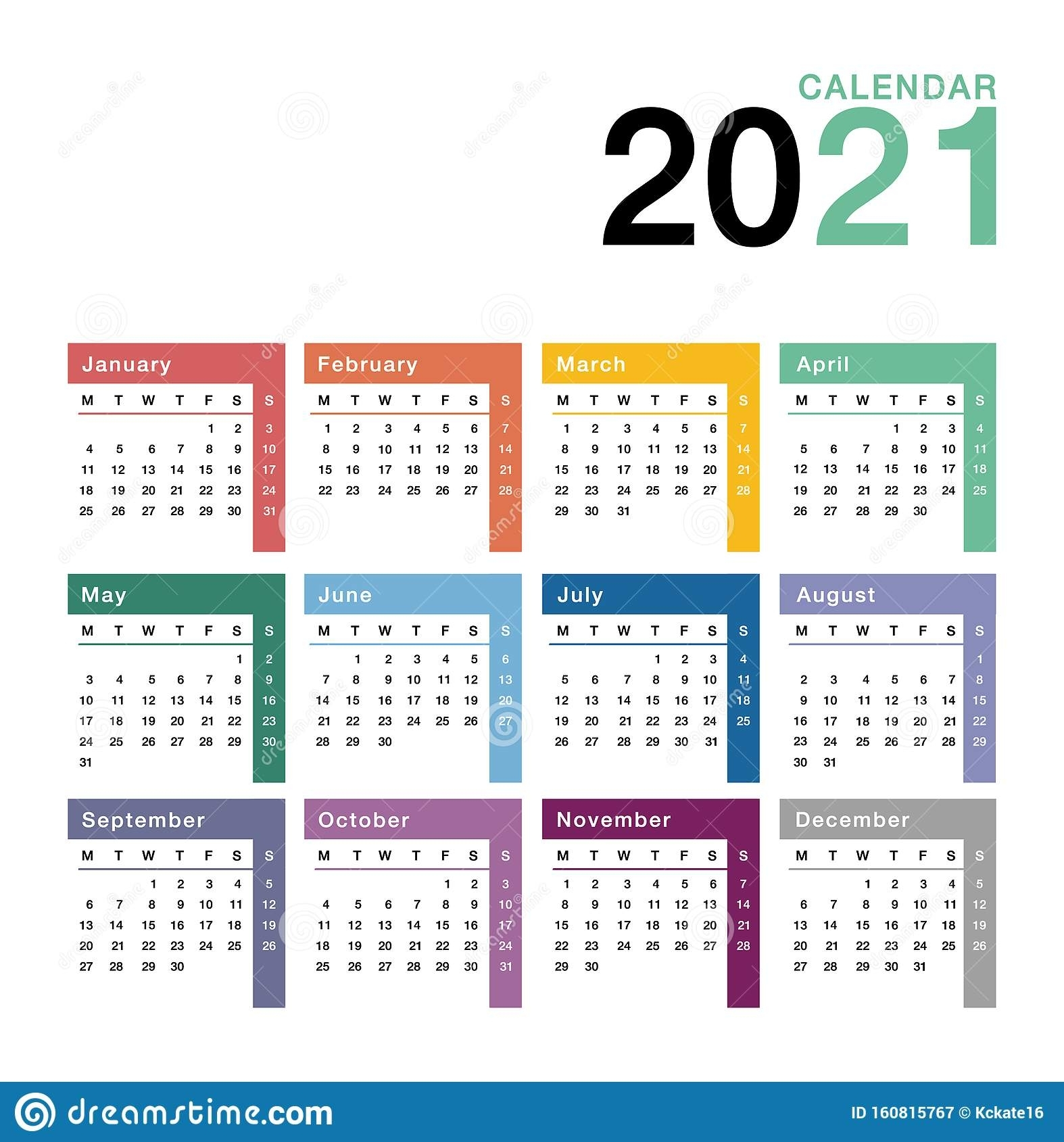 Colorful Year 2021 Calendar Vector Design Template, Simple And Clean Design. Calendar For 2021