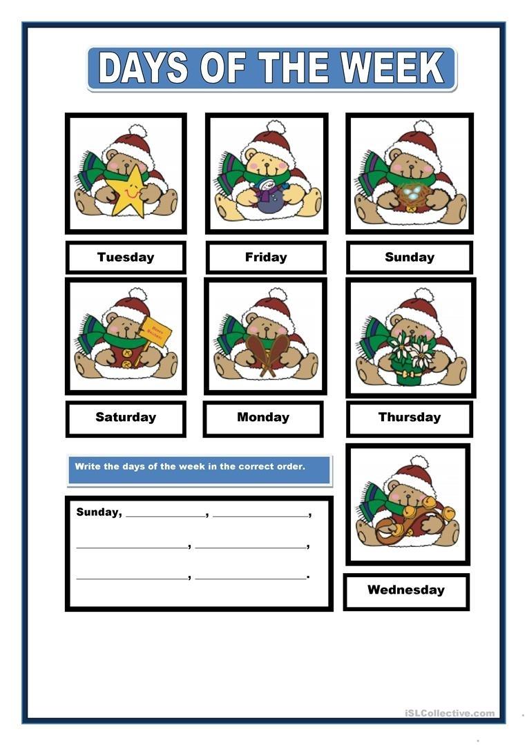 Days Of The Week Worksheet - Free Esl Printable Worksheets Made By Teachers