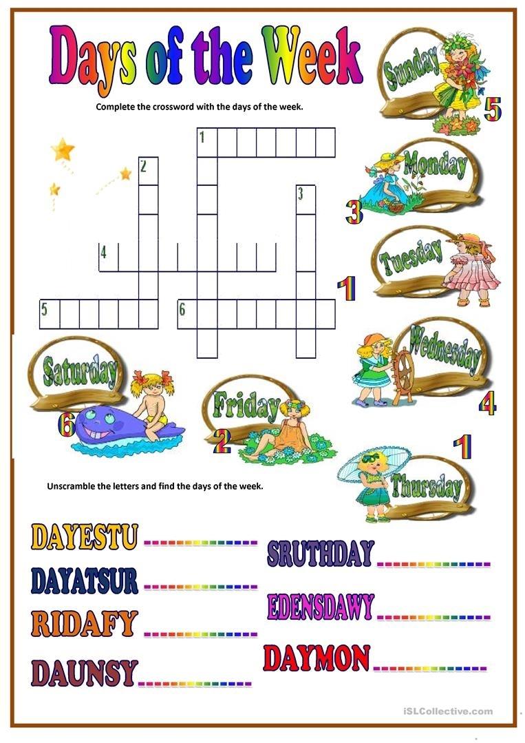 Days Of Week Worksheet - Free Esl Printable Worksheets Made By Teachers
