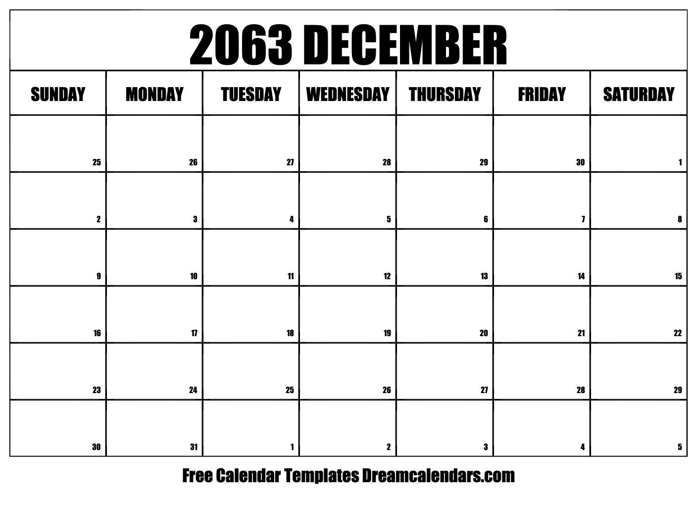 December 2063 Calendar | Free Blank Printable Templates
