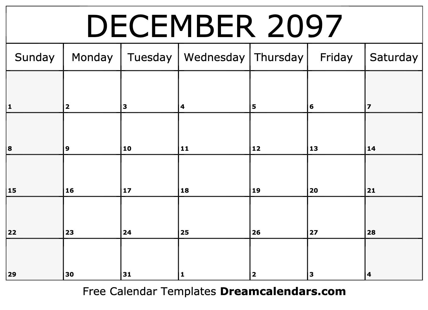December 2097 Calendar | Free Blank Printable Templates