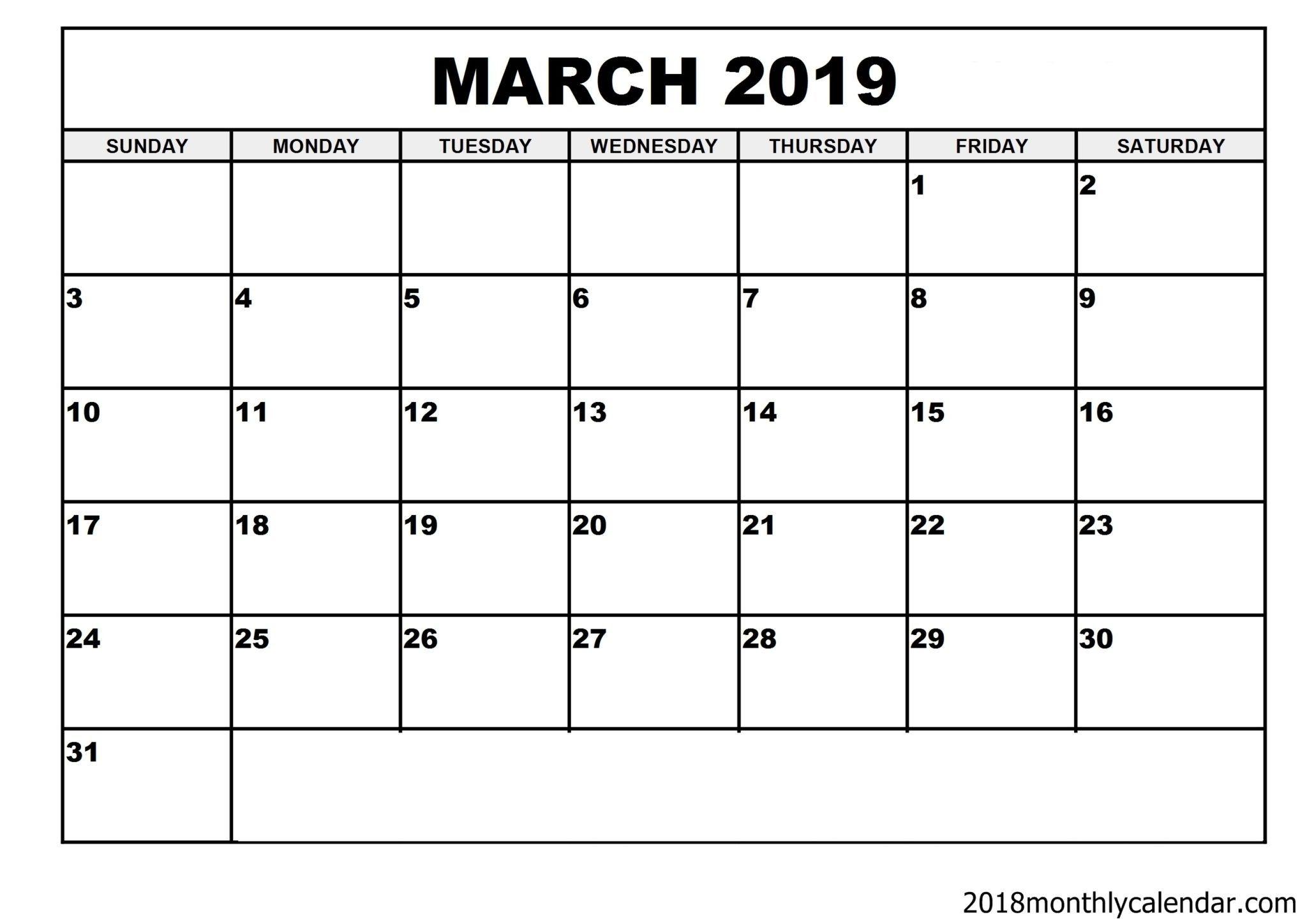 Download March 2019 Calendar - Blank Template - Editable Calendar Template | Editable Calendar