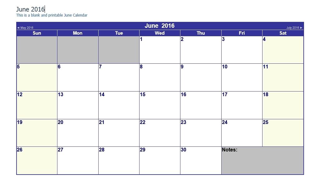 Easy Fill In Calendar June 2016 | Calendar Template 2020