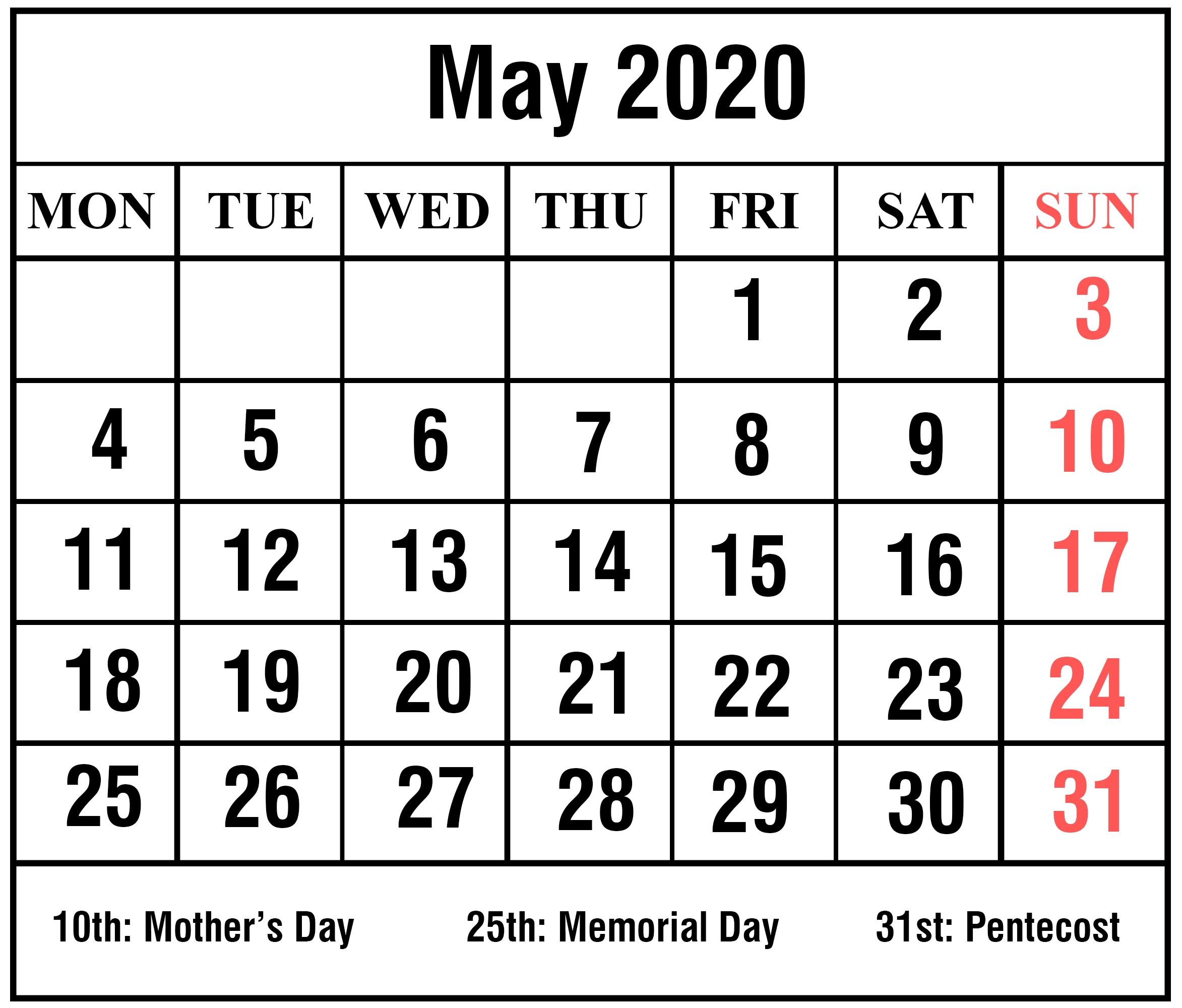 Editable May 2020 Calendar To Print Pdf Word Blank Blank Templates Notes