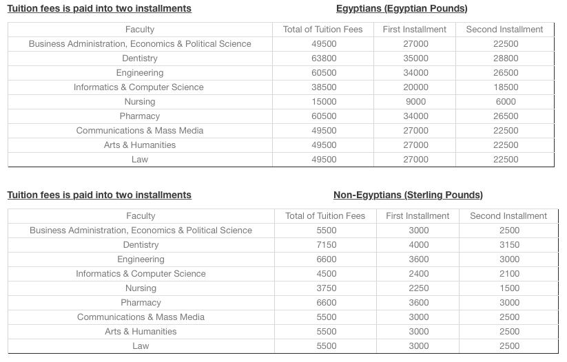 Egypt'S Private Universities Tuition Fees For 2017-2018 Will Make You Think Twice - Scoop Empire